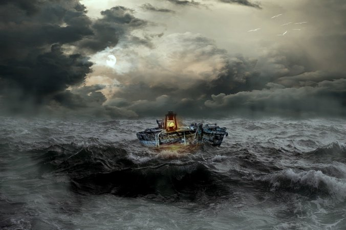 Boat in stormy weather